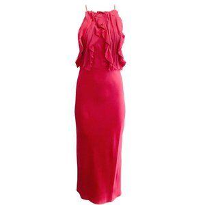 Jason Wu Raspberry Ruffle Halter Formal Dress